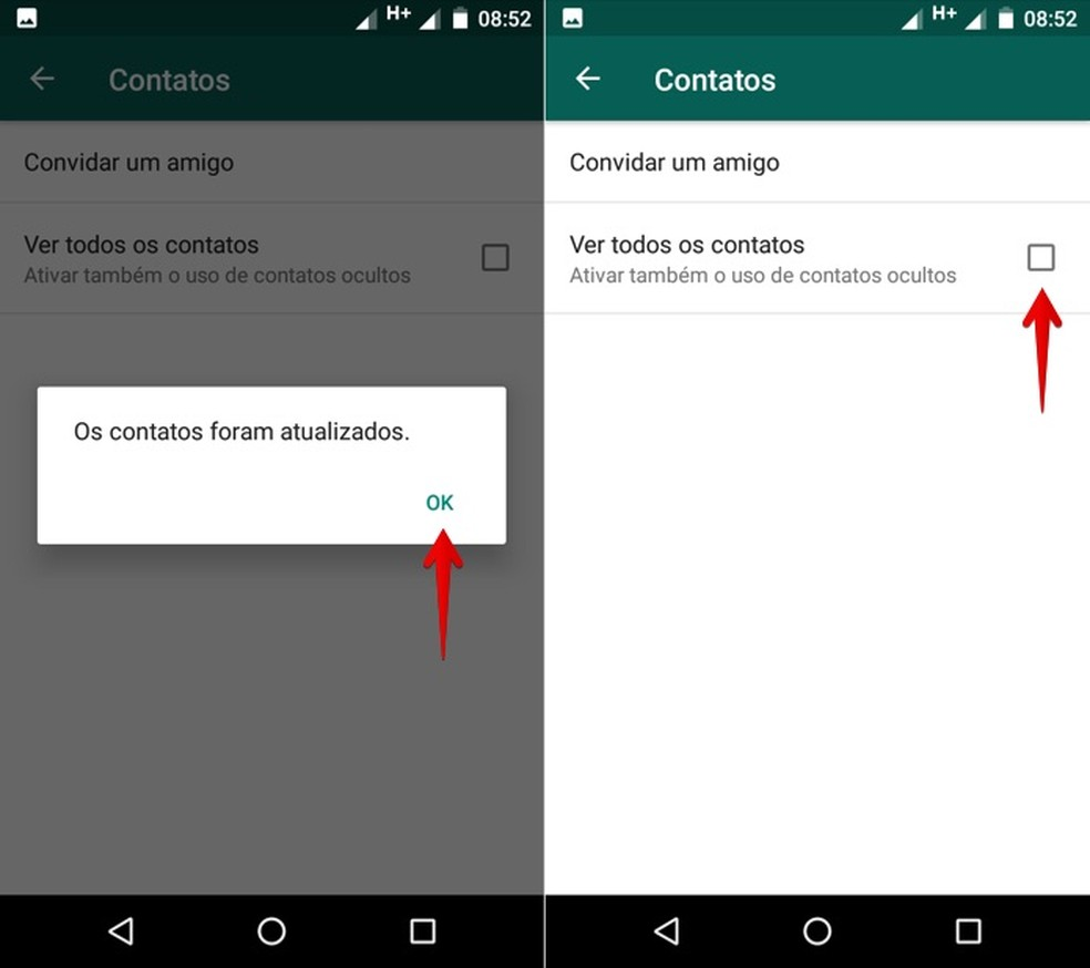 Contatos atualizados com sucesso no WhatsApp para Android (Foto: Reprodução/Helito Bijora)