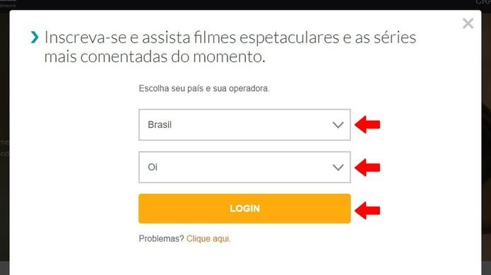 Informe sua operadora de TV por assinatura para acessar o Crackle (Foto: Reprodução/Rodrigo Fernandes)
