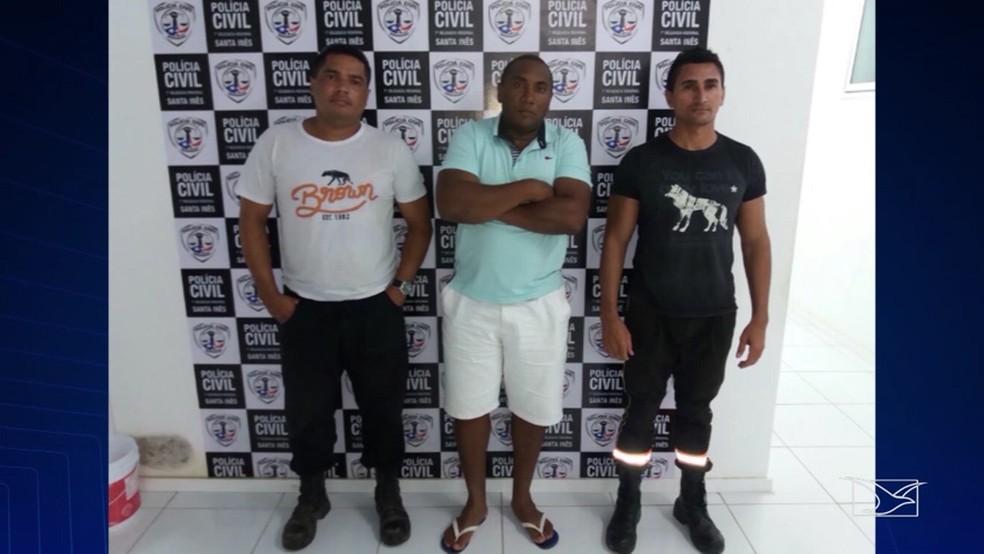 Jocélio dos Santos, Fredson Alves e Antonio Marcos Campos foram presos por suspeita de roubo de combustível (Foto: Reprodução/TV Mirante)