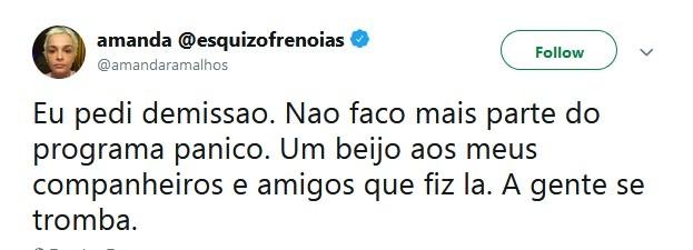 Amanda Ramalho pede demissão (Foto: Reprodução / Twitter)