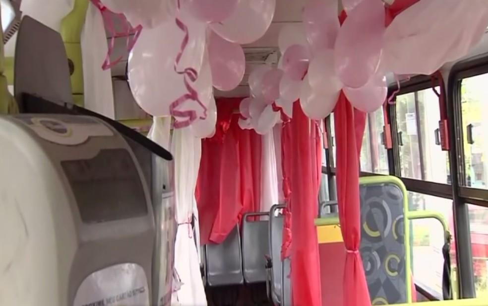 Parte da decoração do ônibus decorado pelo motorista Roberto Rufino, em Goiânia — Foto: TV Anhanguera/Reprodução
