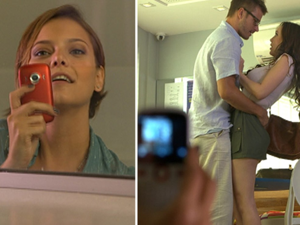 Escondida, Vanessa grava Alexandre agarrando Ellen na sala de aula em 'Fina Estampa' — Foto: Globo