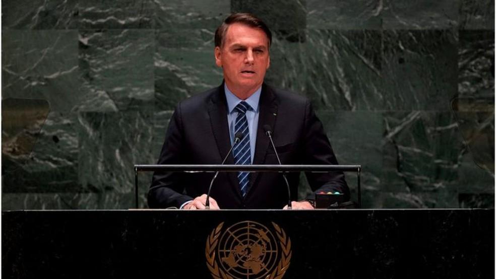 Jair Bolsonaro em discurso na abertura da Assembleia-Geral da ONU em 2019 — Foto: AFP