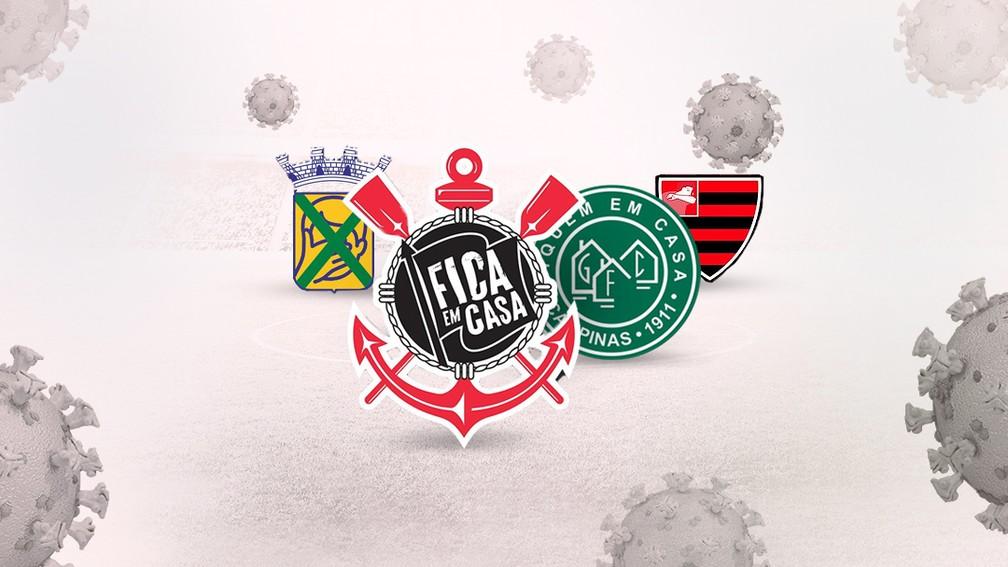 Clubes paulistas adaptam seus escudos para conscientizar sobre coronavírus — Foto: GloboEsporte.com