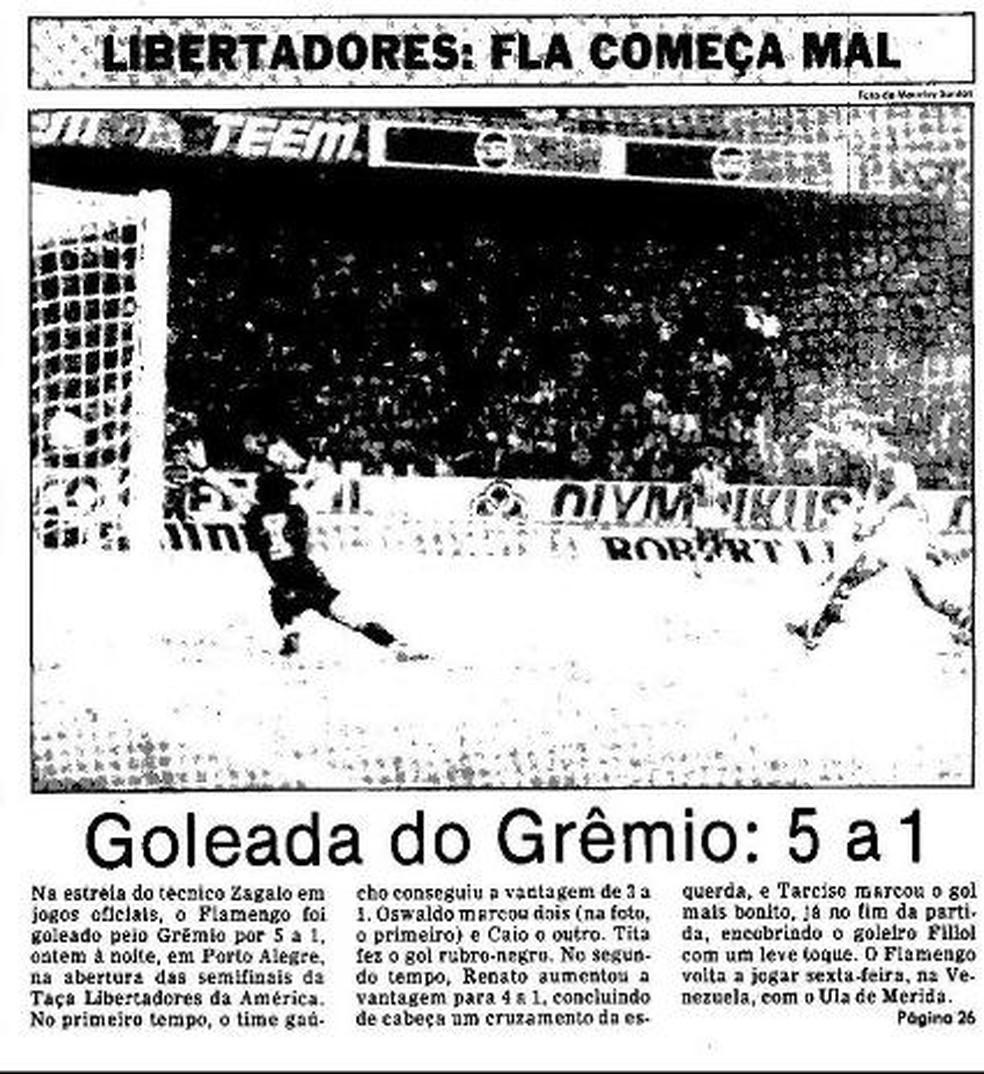 Maior goleada sofrida pelo Flamengo tinha sido em 1984, para o Grêmio — Foto: Acervo O Globo