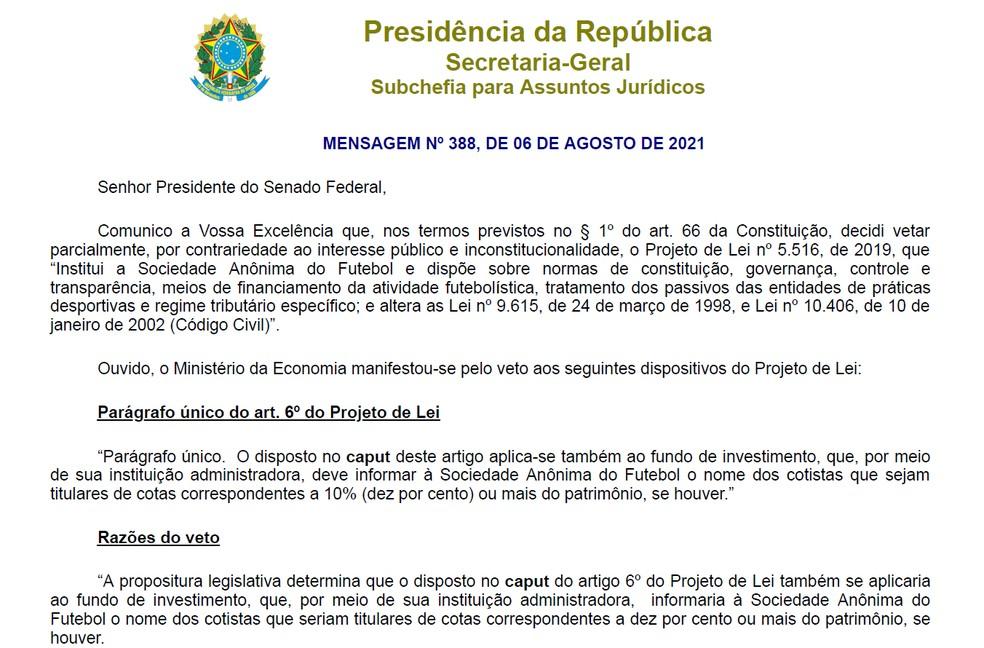 Em carta ao Senado, Bolsonaro justifica vetos a trechos da lei sobre clube-empresa — Foto: Reprodução