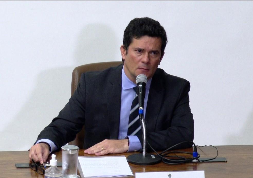 Sergio Moro em evento como ministro da Justiça  — Foto: JN