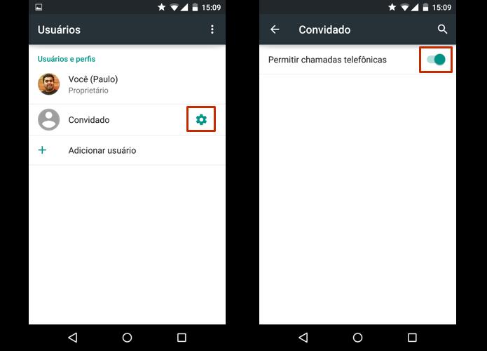Decida se quer bloquear ligações para o convidado Acesse as configurações de usuário do Android (Foto: Reprodução/Paulo Alves)