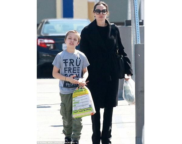 Angelina Jolie e o filho Knox com o pacote de cama de cobra (Foto: Reprodução)