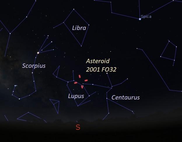 Localização do asteroide 2001 FO32 em 20 de março, vista do sul dos Estados Unidos  (Foto:  Eddie Irizarry/Stellarium)