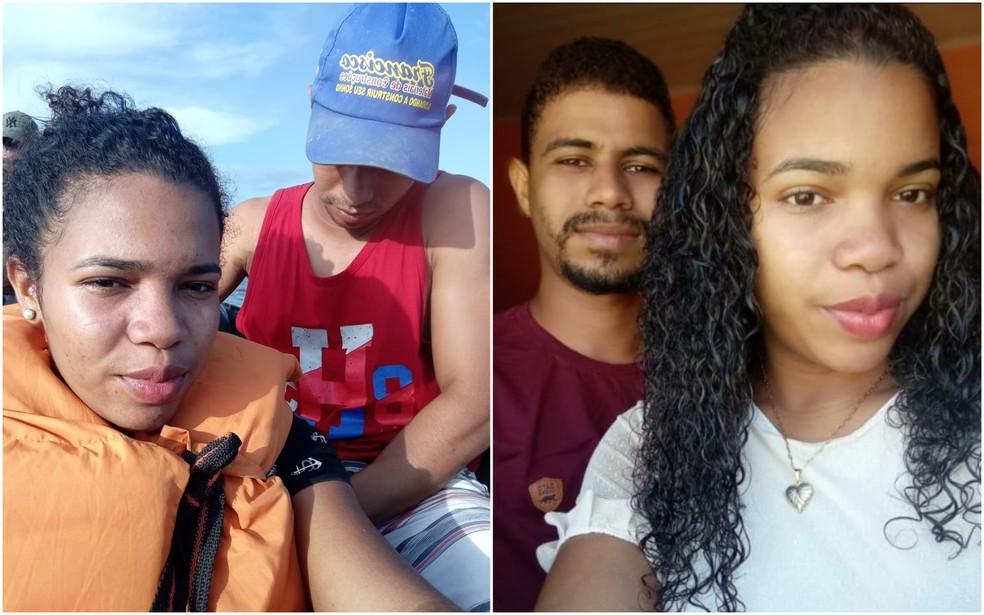 Carlos Adriano Almeida, de 22 anos, viajava com a esposa Karine Oliveira Soares, de 18 anos, antes do naufrágio na Guiana Francesa - à esquerda, foto enviada por Karine para a família de dentro da embarcação — Foto: Arquivo Pessoal