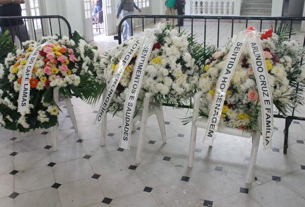 Coroas de flores enviadas por amigos de Beth Carvalho (Foto: Marcos Ferreira/Brazil News)