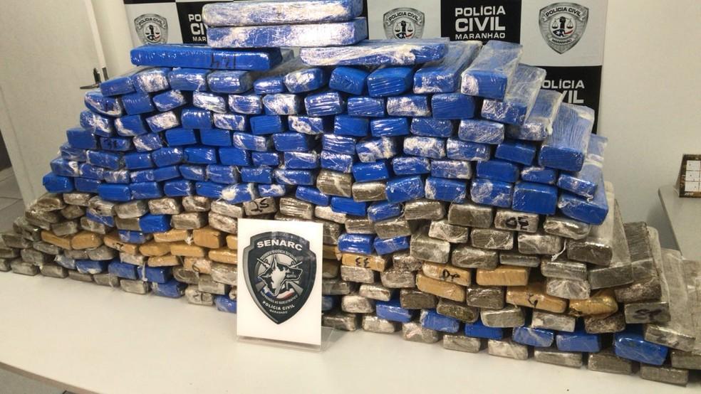 216 kg de maconha foram apreendidas no município de Estreito, no Maranhão (Foto: Divulgação/Polícia Civil)