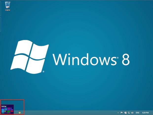 Botão iniciar ('start'), presente nas versões anteriores do sistema operacional, agora perde o sentido (Foto: Reprodução)