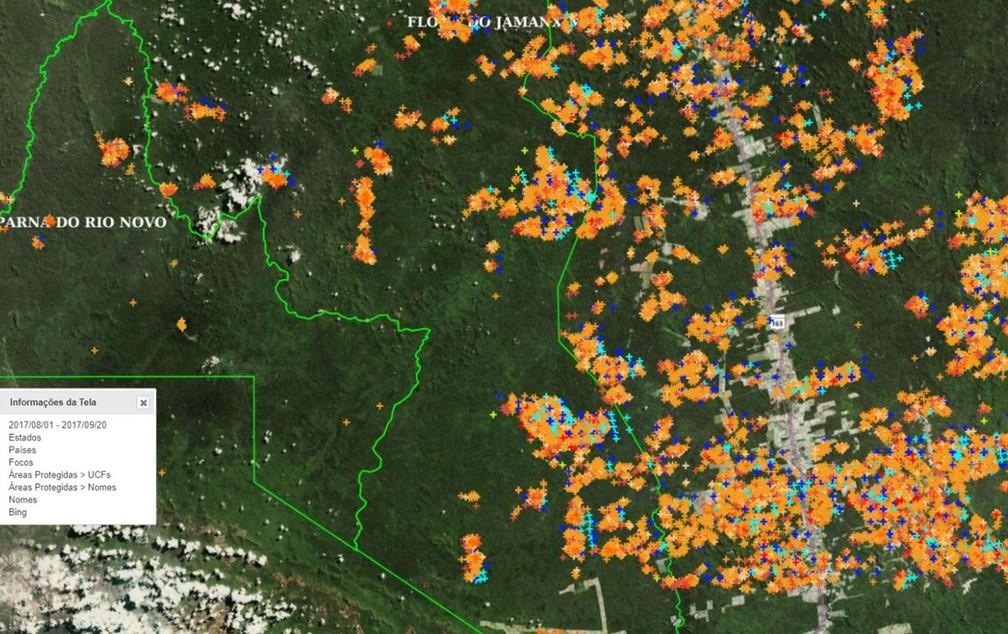 Satélites mostram inúmeros pontos de calor em unidade de conservação do Pará, um dos estados mais críticos (Foto: Reprodução/Inpe)