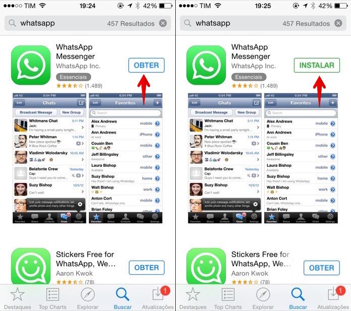 Instalando o WhatsApp no iPhone (Foto: Reprodução/Helito Bijora)