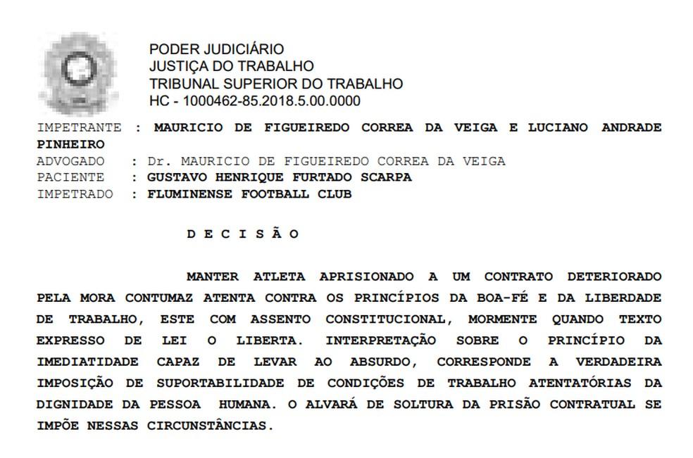 Habeas corpus concedido ao jogador Gustavo Scarpa, que está liberado do Fluminense (Foto: Reprodução)