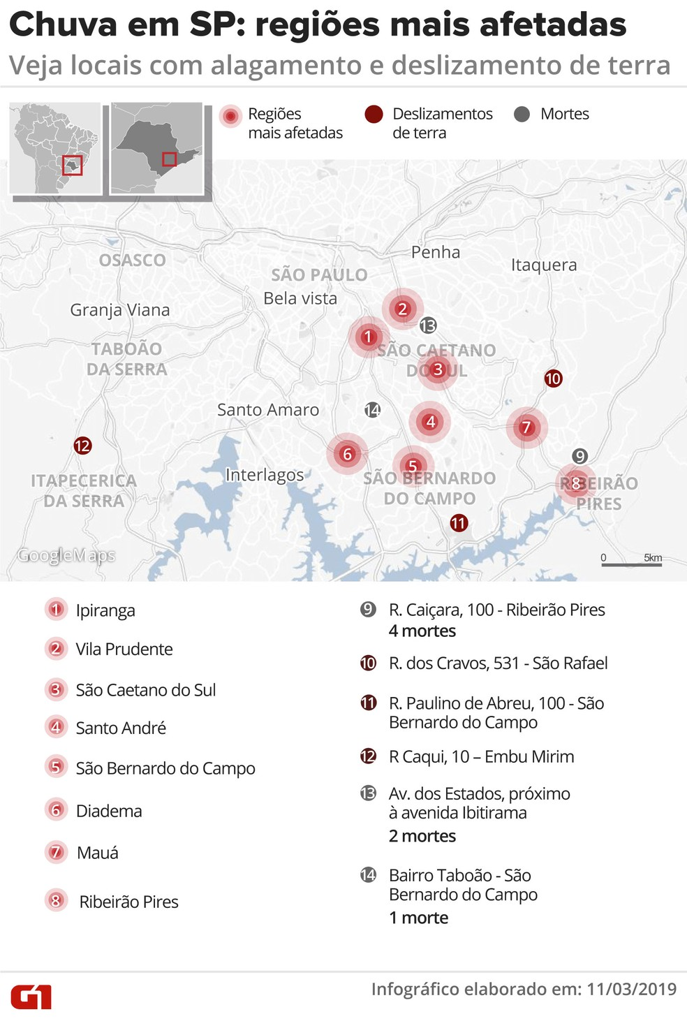 Mapa mostra as regiões da Grande São Paulo mais afetadas pela chuva — Foto: Juliane Souza/Editoria de Arte/G1