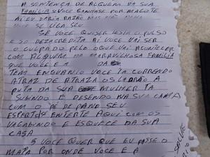 Autor da cara diz conhecer a rotina da família de agente penitenciário e faz ameaças de morte. (Foto: Pimenta Virtual/Divulgação)