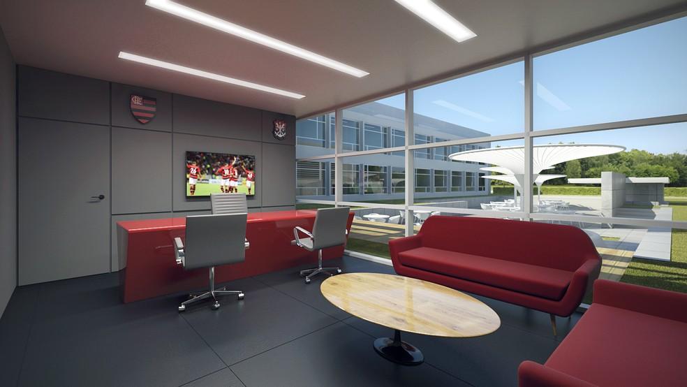 Uma das salas da direção e gerência do departamento de futebol (Foto: Divulgação Flamengo)