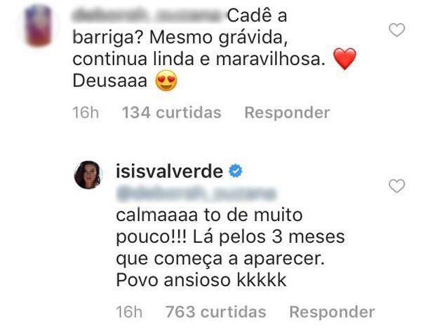 Resposta de Isis Valverde (Foto: Reprodução / Instagram)