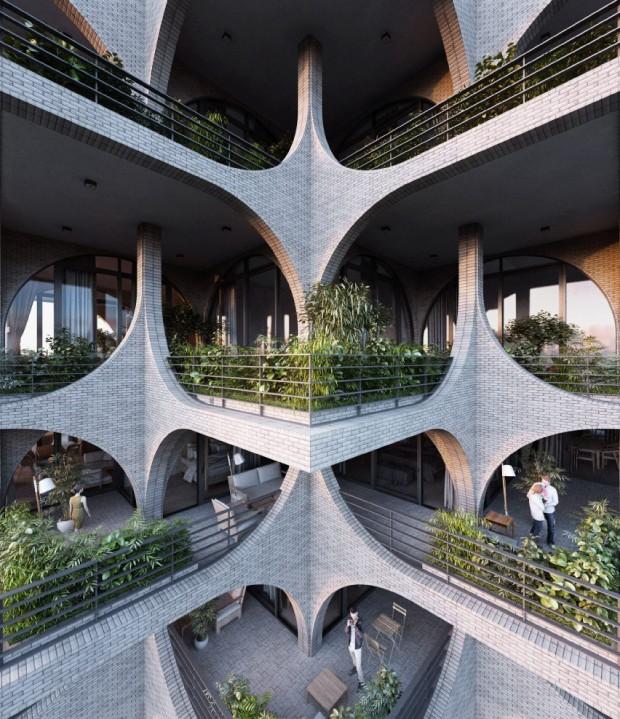 A Torre de 116 metros de altura tem fachadas de arcos e terraços modulares (Foto: Divulgação)