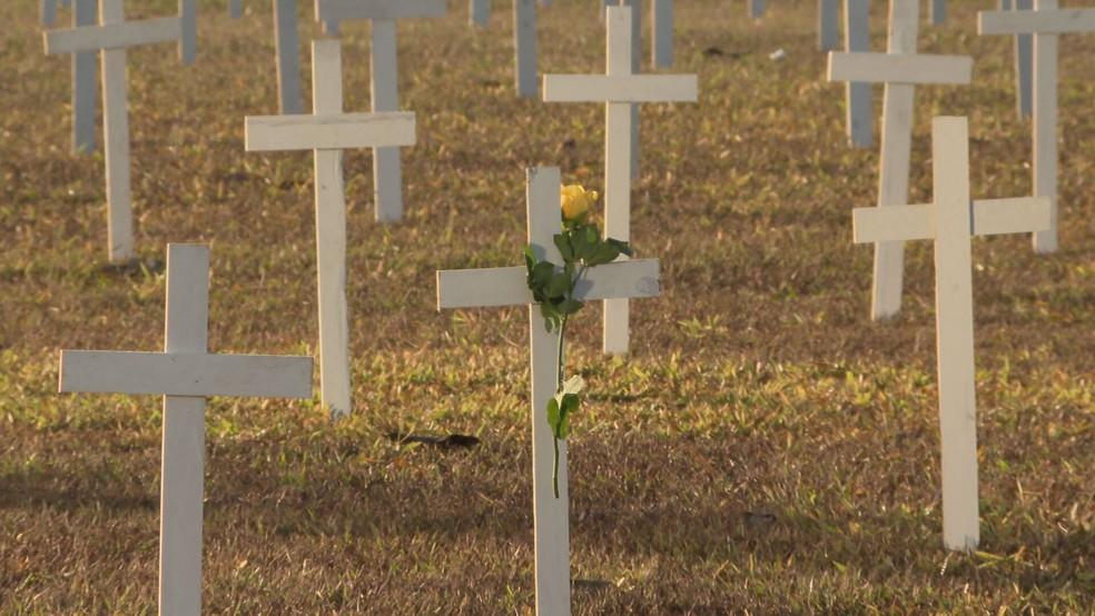 Cruzes são instaladas na Esplanada dos Ministérios em memória às vítimas da Covid-19 — Foto: TV Globo/Reprodução