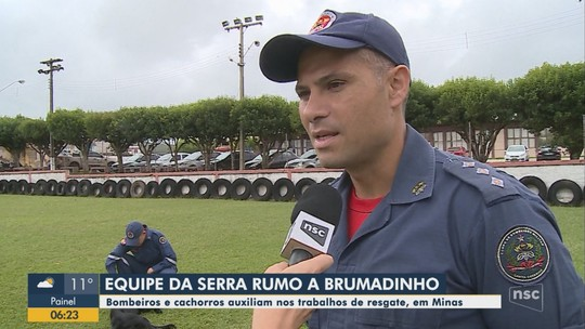 Segunda equipe de bombeiros militares de SC viaja para reforçar buscas em Brumadinho