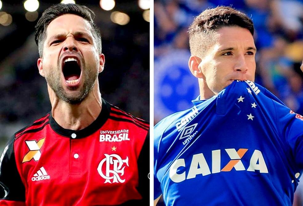 Diego e Thiago Neves são os responsáveis pela criação de jogadas de Flamengo e Cruzeiro, respectivamente (Foto: GloboEsporte.com)