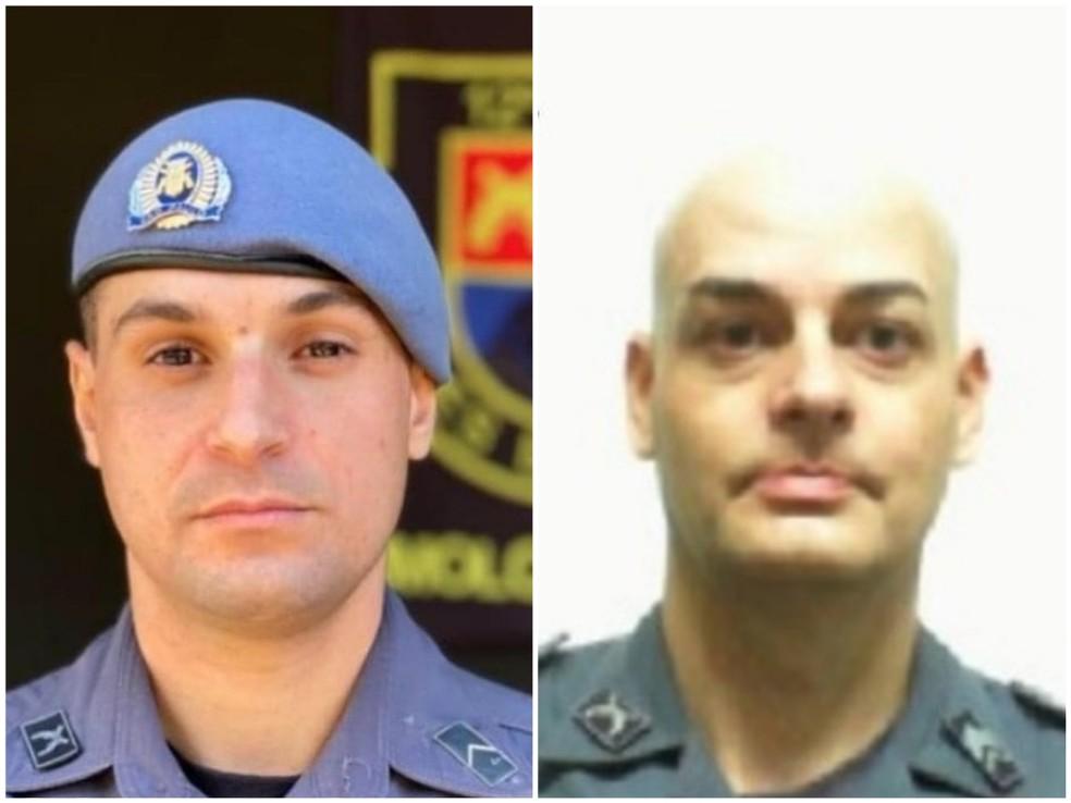 O soldado Bruno Tunes (esquerda) e o sargento André Ciolin morreram após viatura da Polícia Militar capotar na rodovia Marechal Rondon, em Avaí (SP) — Foto: Reprodução
