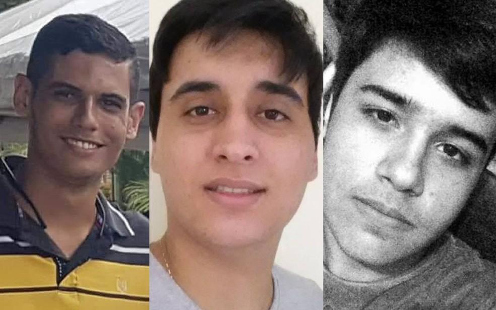 Morreram no acidente Guilherme Nunes da Silva (à esquerda), Tiago Cabral (meio) e Luiz Fernando Carfi (terceiro) â?? Foto: Facebook