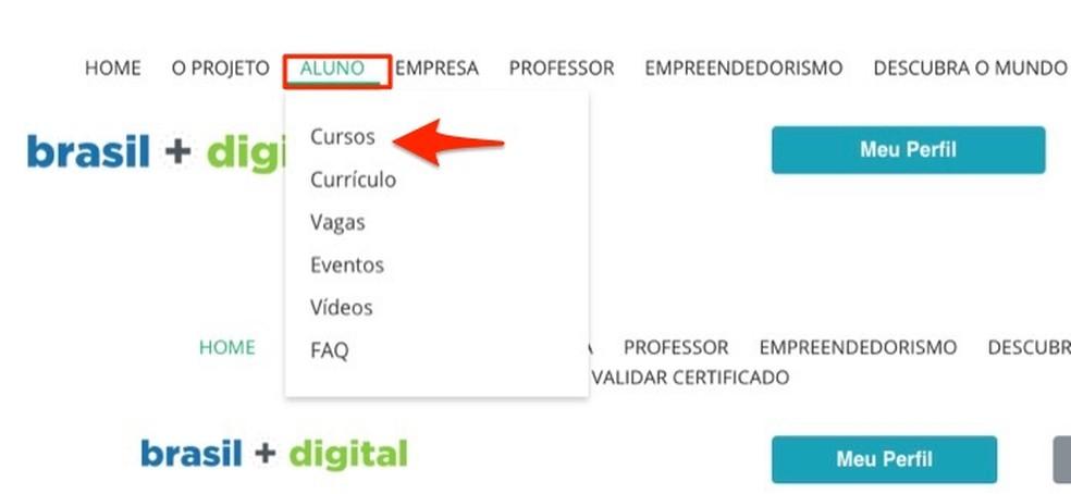 Ação para encontrar cursos do site Brasil Mais TI — Foto: Reprodução/Marvin Costa