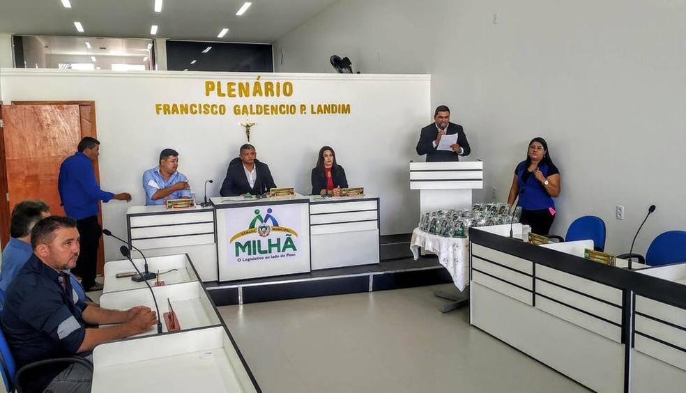 Câmara Municipal de Milhã, onde vereador foi preso em flagrante por suspeita de estupro — Foto: Divulgação
