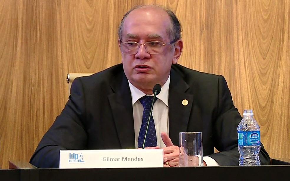 O ministro Gilmar Mendes participou de palestra em São Paulo (Foto: GloboNews/Reprodução)