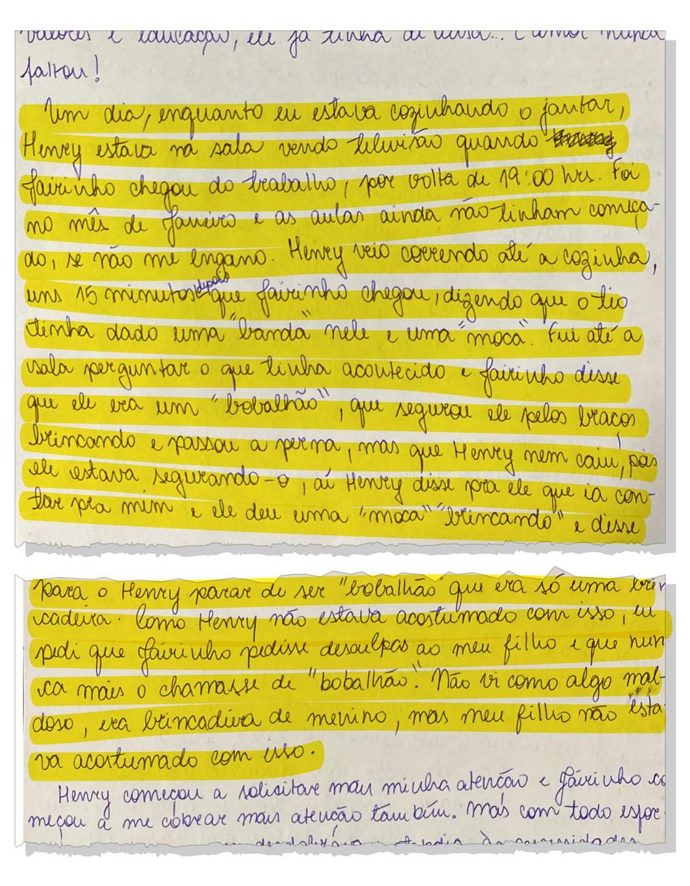 Em carta, Monique diz que Henry foi agredido — Foto: Reprodução