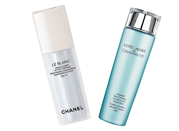 Le Blanc Sérum Clarité, US$ 195, Chanel; CyberWhite HD Advanced Spot Correcting Essence, US$ 110, Estée Lauder   (Foto: Reprodução)