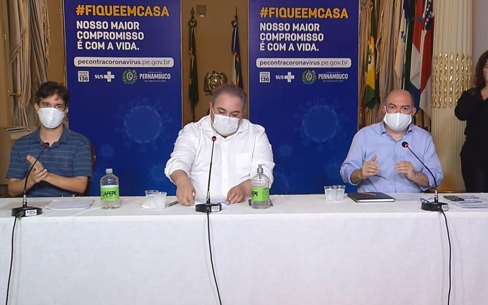 Secretários detalharam ações da quarentena no Grande Recife — Foto: Reprodução/TV Globo