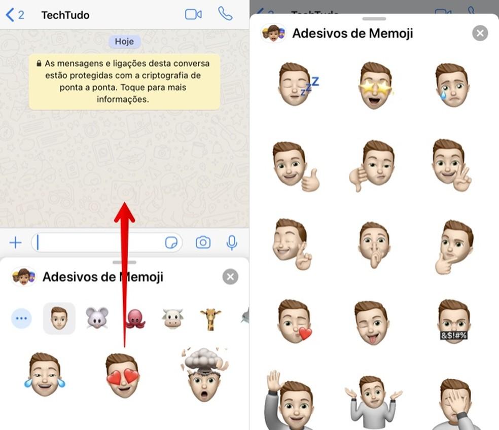 Enviando um Memoji como figurinha no WhatsApp — Foto: Reprodução/Helito Beggiora