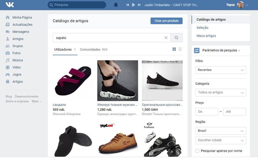 O catálogo de artigos do VK pode ser bastante confuso pela falta de tradução — Foto: Reprodução/Taysa Coelho