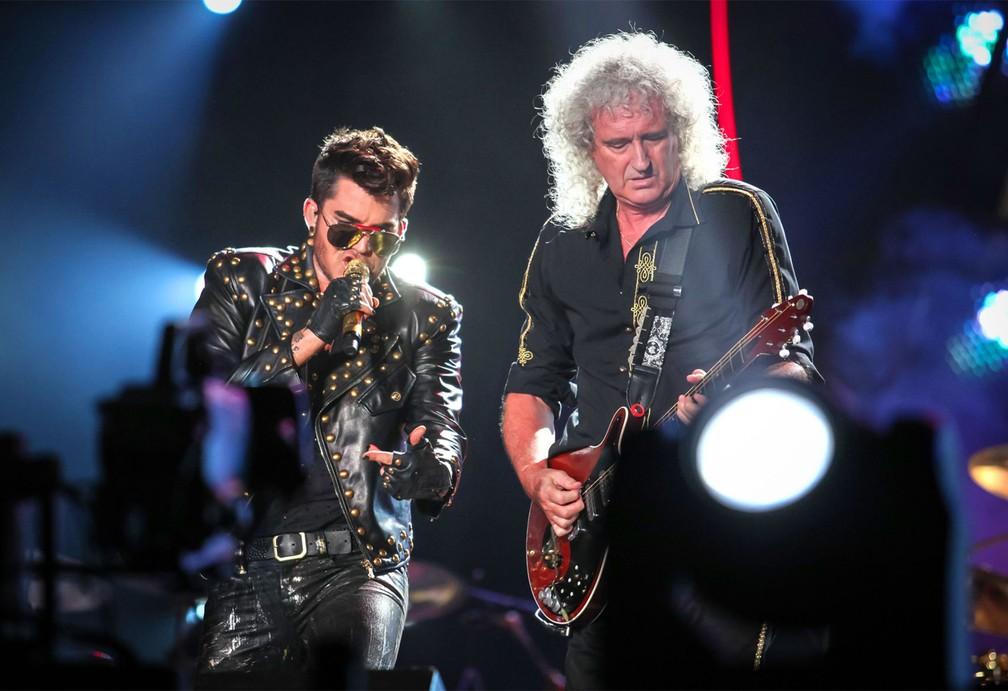Adam Lambert e Queen no Rock in Rio — Foto: Fabio Tito/G1
