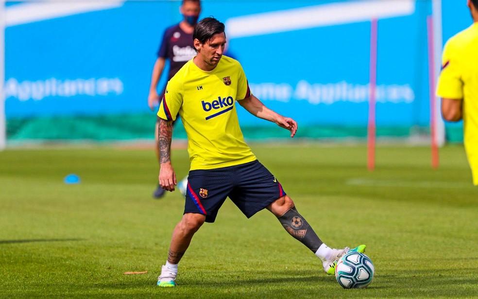 Barcelona de Messi é líder do Campeonato Espanhol — Foto: Reprodução de Twitter