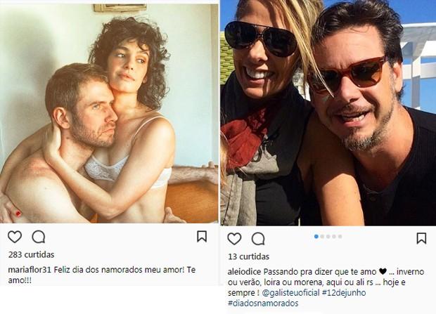 Maria Flor e Felipe Continentino; Adriane Galisteu e Alexandre Iodice (Foto: Reprodução/Instagram)