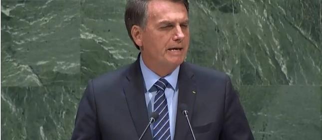 O presidente Jair Bolsonaro em discurso na ONU