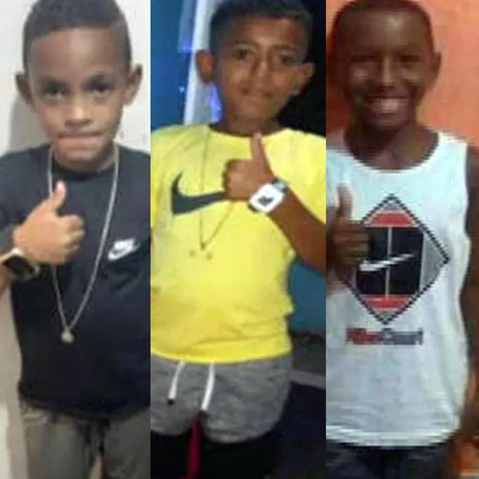 Lucas Matheus, 8 anos; Alexandre da Silva, 10 anos; e Fernando Henrique, 11 anos, desapareceram no dia 27 de dezembro  — Foto: Reprodução