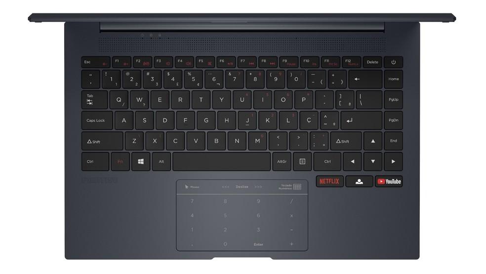 Motion Q, da Positivo, traz teclado numérico no trackpad — Foto: Divulgação/Positivo