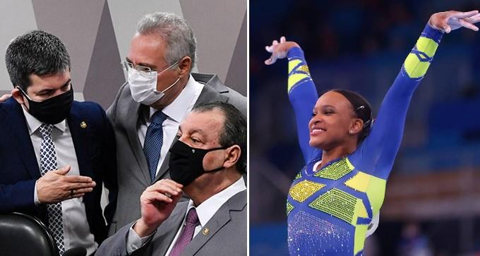 CPI da Covid e Rebeca Andrade nas Olimpíadas (Foto: Edilson Rodrigues/Agência Senado e Lindsey Wasson/Reuters)