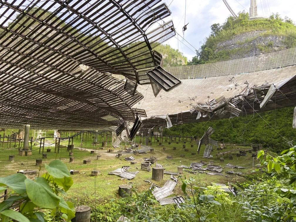 Foto de 11 de agosto de 2020 mostra os danos causados por um cabo rompido — Foto: Observatório de Arecibo via AP