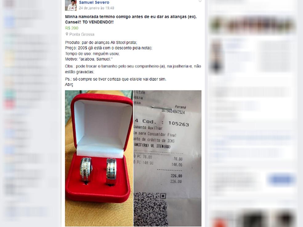 Paranaense anuncia alianças na web e viraliza: 'Terminou comigo antes' (Foto: Reprodução/Facebook)