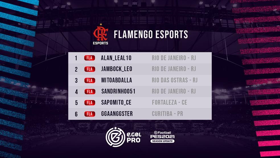 Elenco do Flamengo para a disputa do eGol Pro de PES 2021 — Foto: Divulgação